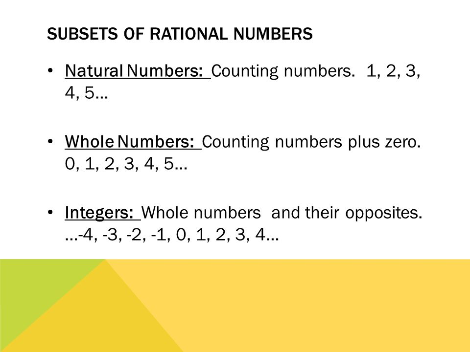 Subsets of Rational Numbers