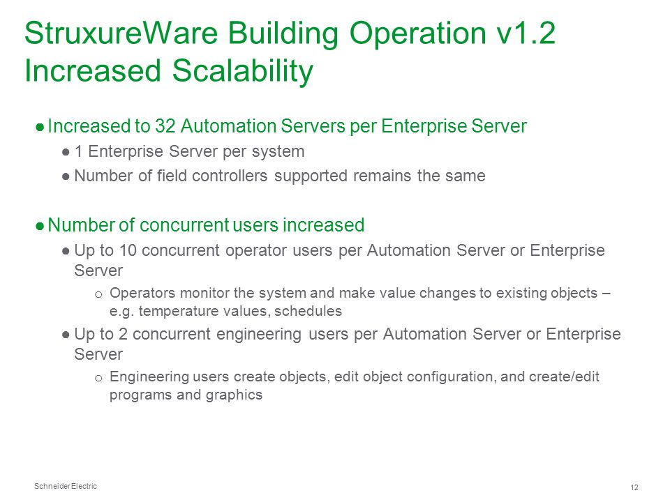 StruxureWare Building Operation v1.2 Increased Scalability