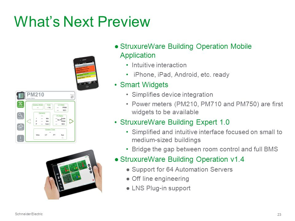 What's Next Preview StruxureWare Building Operation Mobile Application