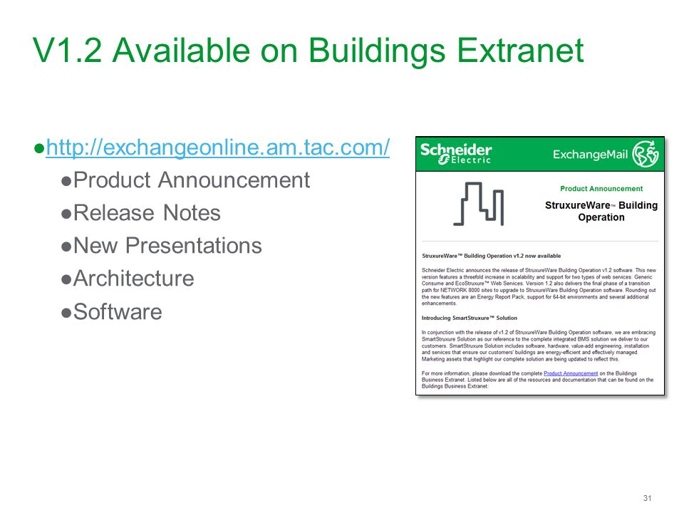 V1.2 Available on Buildings Extranet