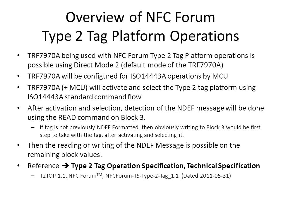 Overview of NFC Forum Type 2 Tag Platform Operations