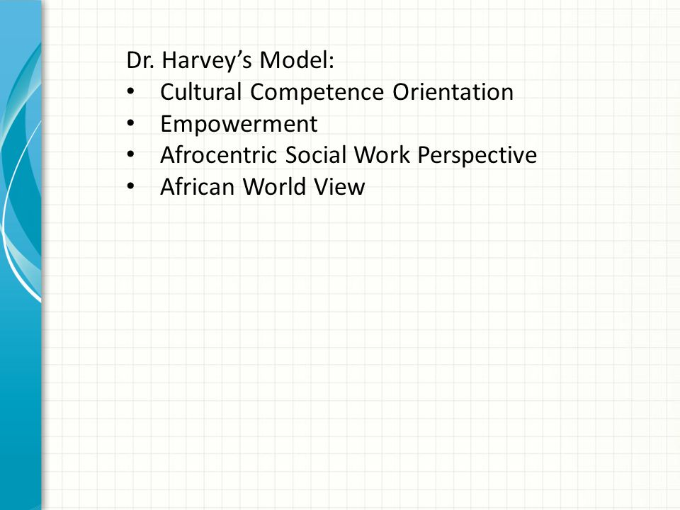 Dr. Harvey's Model: Cultural Competence Orientation. Empowerment. Afrocentric Social Work Perspective.