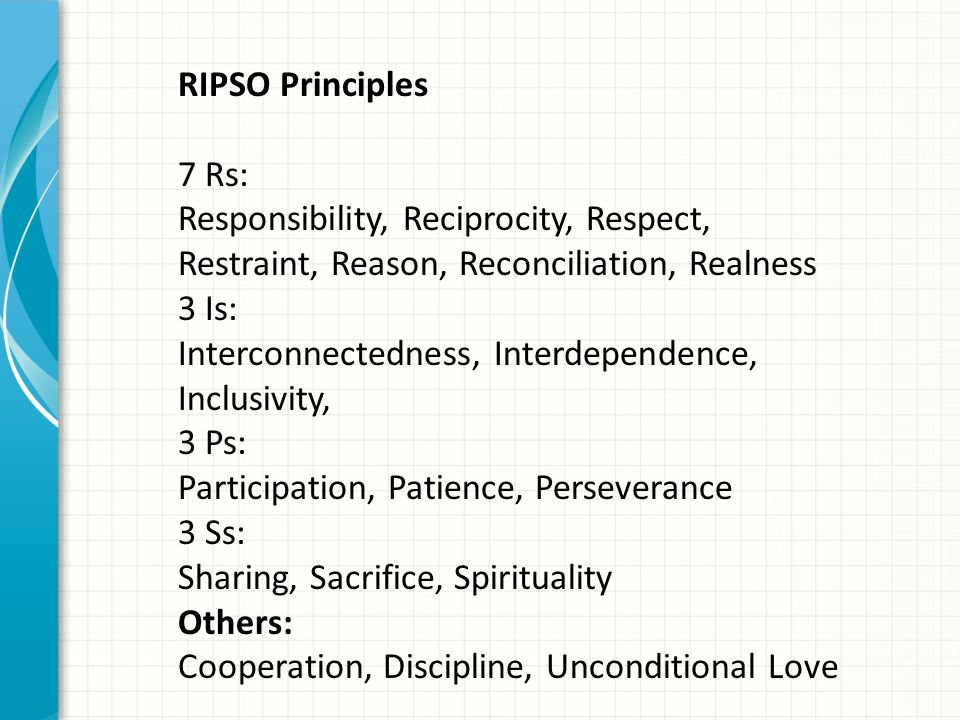 RIPSO Principles 7 Rs: Responsibility, Reciprocity, Respect, Restraint, Reason, Reconciliation, Realness.