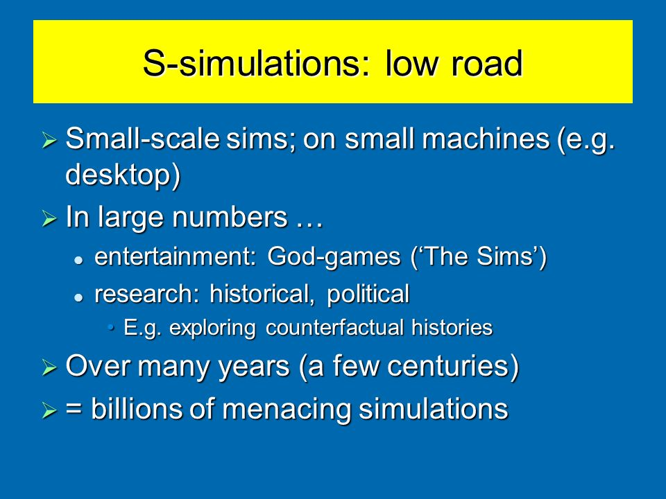 S-simulations: low road