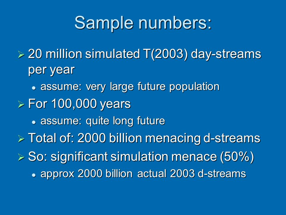 Sample numbers: 20 million simulated T(2003) day-streams per year