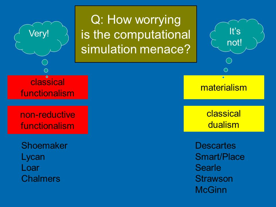 Q: How worrying is the computational simulation menace It's not!