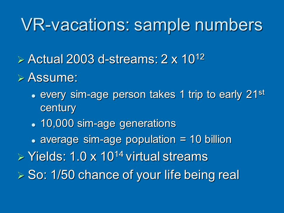 VR-vacations: sample numbers