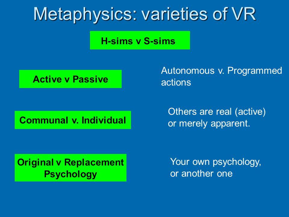 Metaphysics: varieties of VR