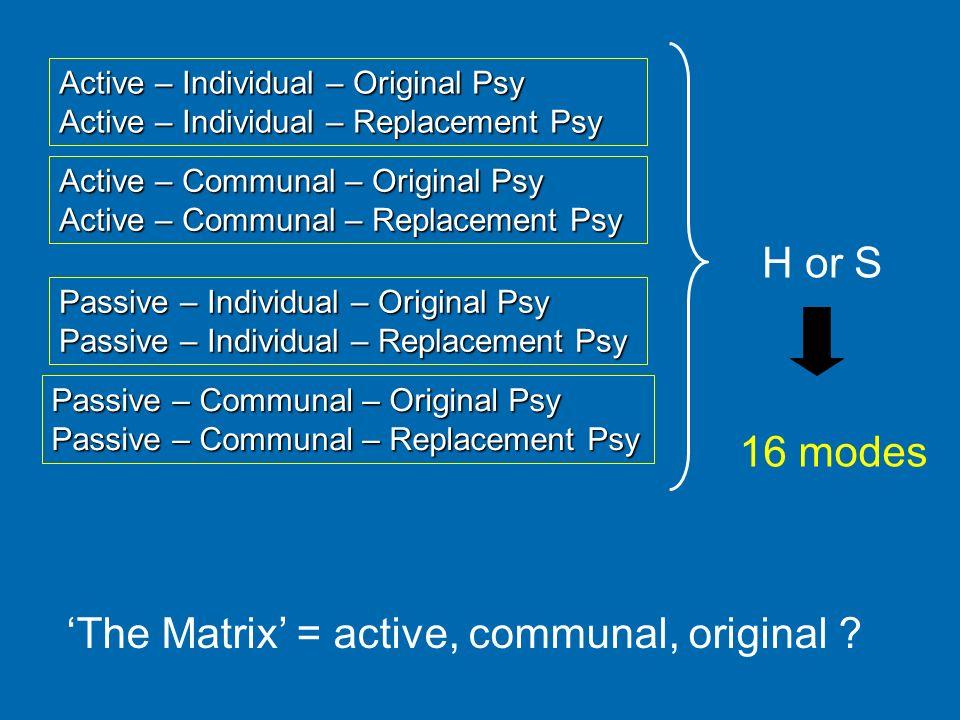'The Matrix' = active, communal, original