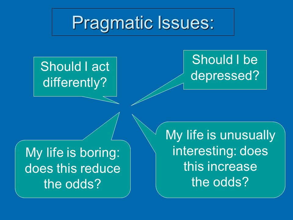 Pragmatic Issues: Should I be Should I act depressed differently