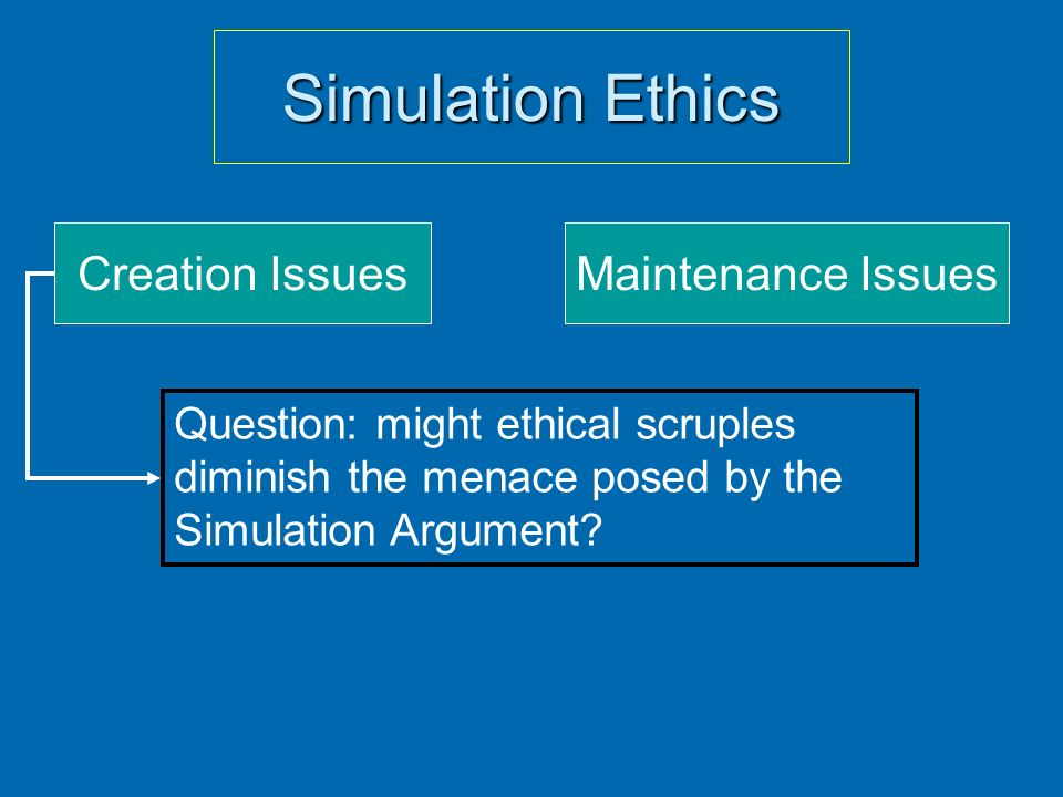 Simulation Ethics Creation Issues Maintenance Issues