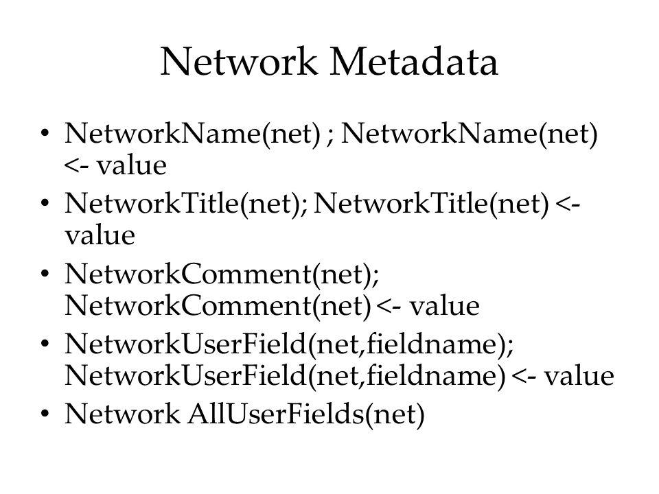 Network Metadata NetworkName(net) ; NetworkName(net) <- value