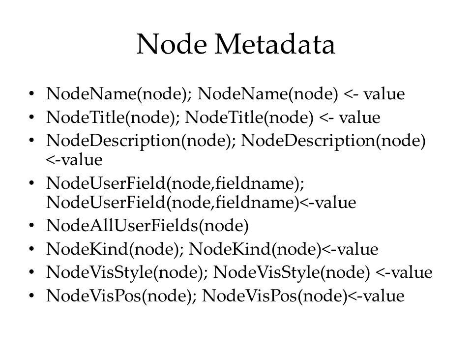 Node Metadata NodeName(node); NodeName(node) <- value