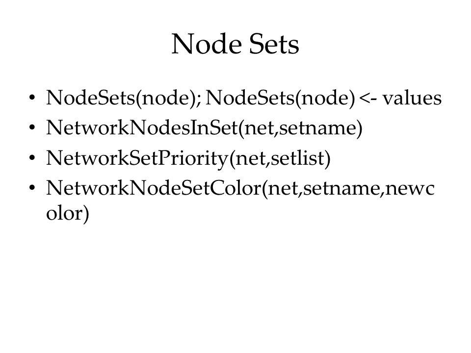 Node Sets NodeSets(node); NodeSets(node) <- values
