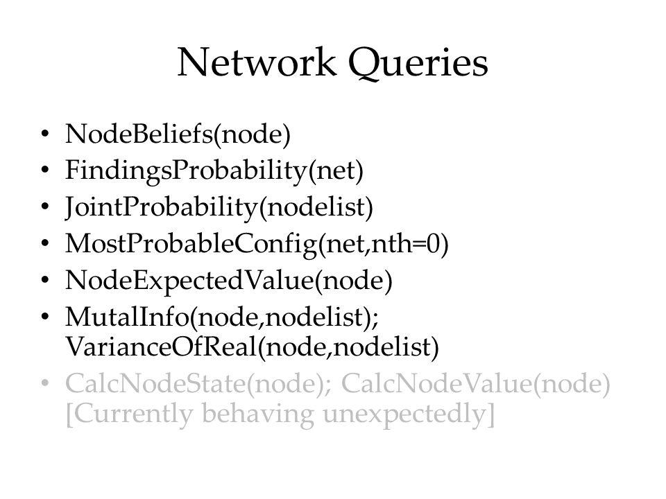 Network Queries NodeBeliefs(node) FindingsProbability(net)