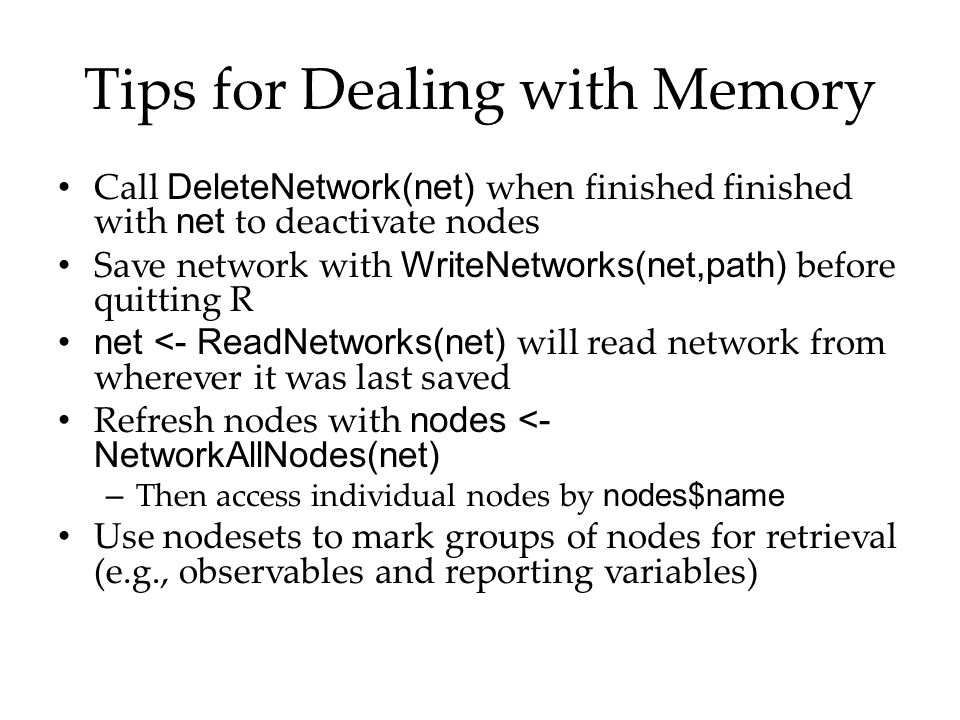 Tips for Dealing with Memory