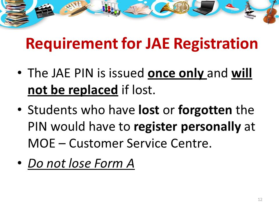 Requirement for JAE Registration