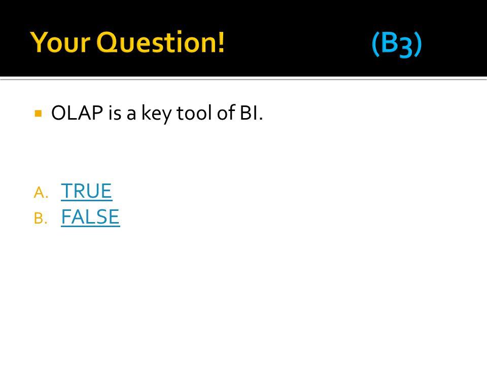 Your Question! (B3) OLAP is a key tool of BI. TRUE FALSE