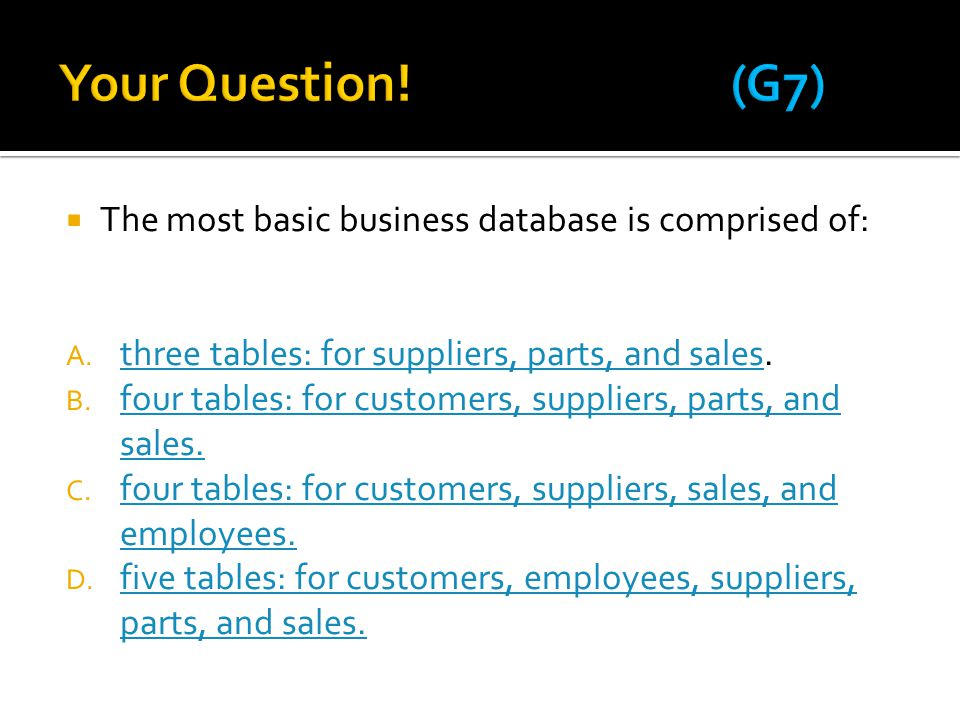 Your Question! (G7) The most basic business database is comprised of: