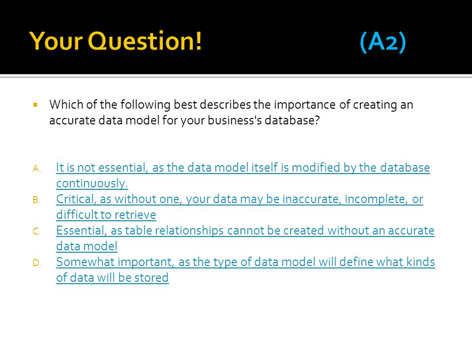 Your Question! (A2) Which of the following best describes the importance of creating an accurate data model for your business s database