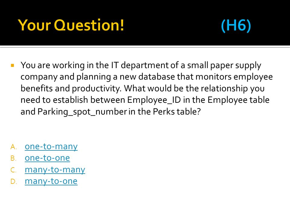Your Question! (H6)