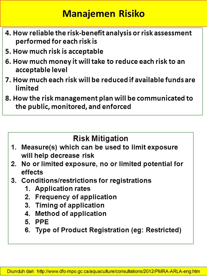 Manajemen Risiko 4. How reliable the risk-benefit analysis or risk assessment performed for each risk is.