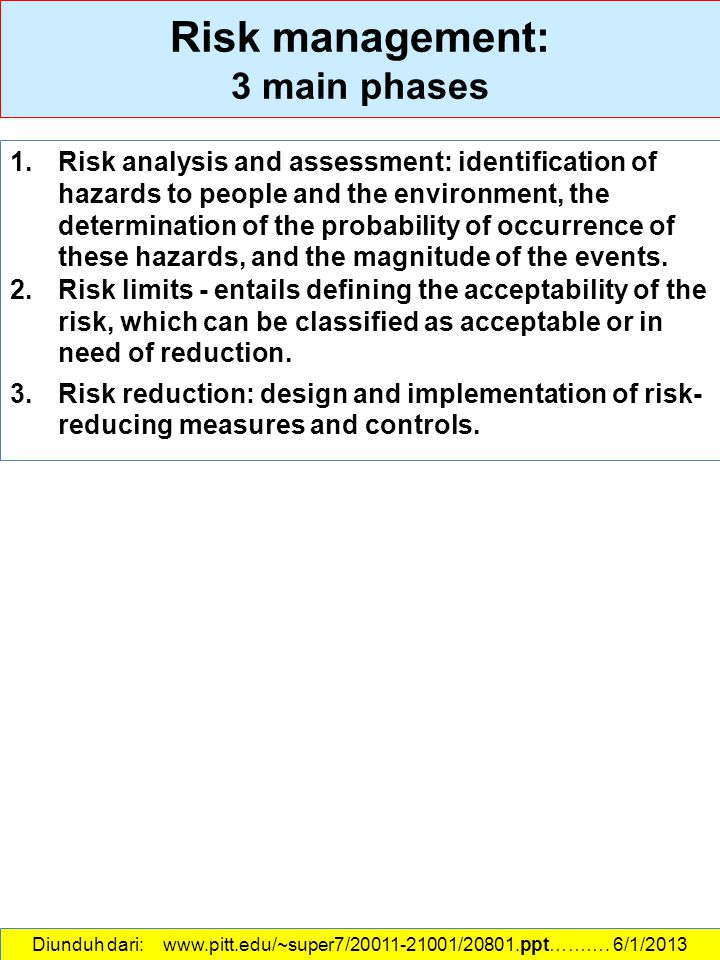 Risk management: 3 main phases