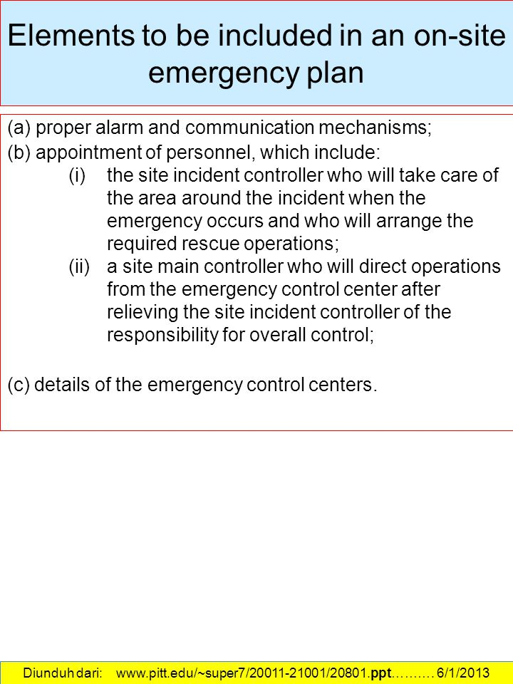 Elements to be included in an on-site emergency plan
