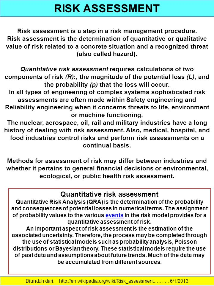 RISK ASSESSMENT Quantitative risk assessment