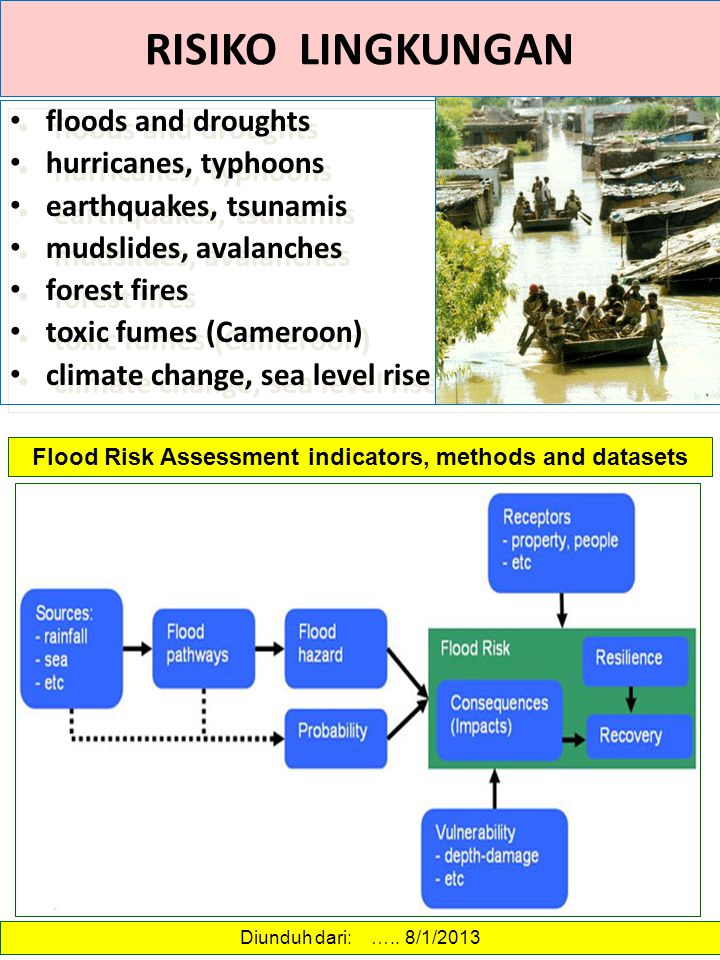 Flood Risk Assessment indicators, methods and datasets