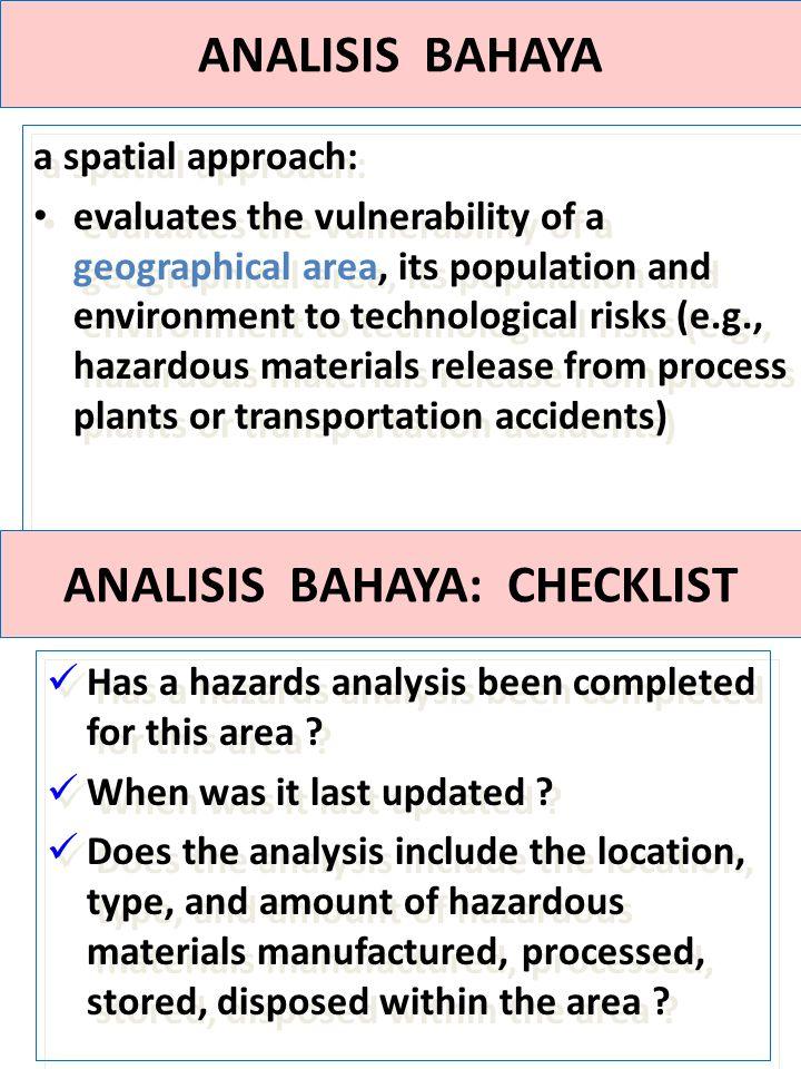 ANALISIS BAHAYA: CHECKLIST