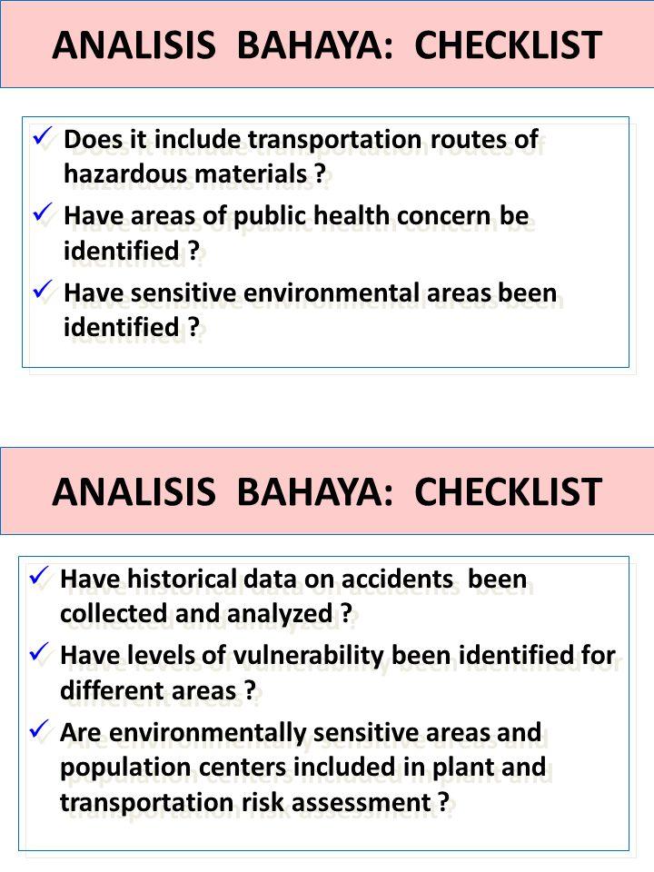 ANALISIS BAHAYA: CHECKLIST ANALISIS BAHAYA: CHECKLIST
