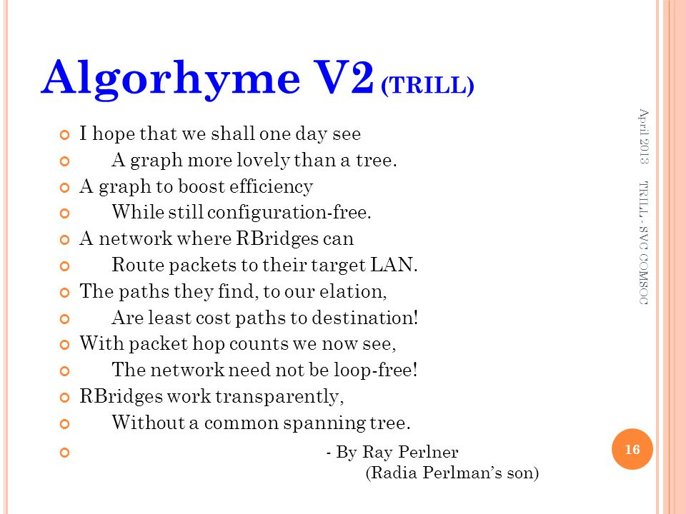 Algorhyme V2 (TRILL) I hope that we shall one day see