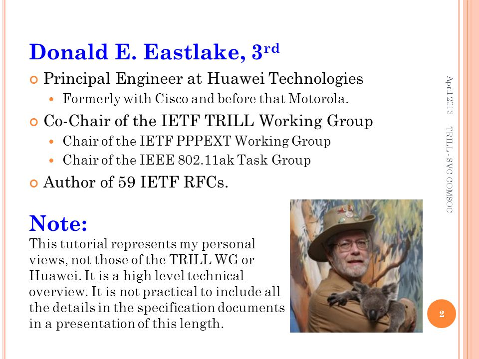 Donald E. Eastlake, 3rd Note: