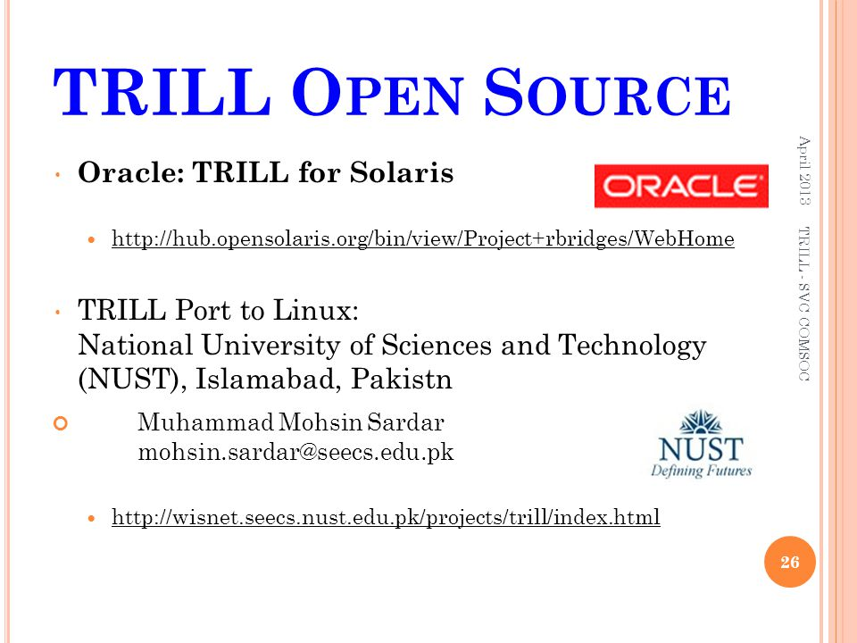 TRILL Open Source Oracle: TRILL for Solaris