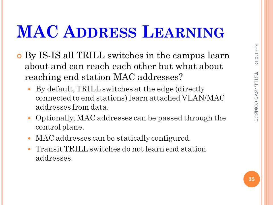 MAC Address Learning April 2013.