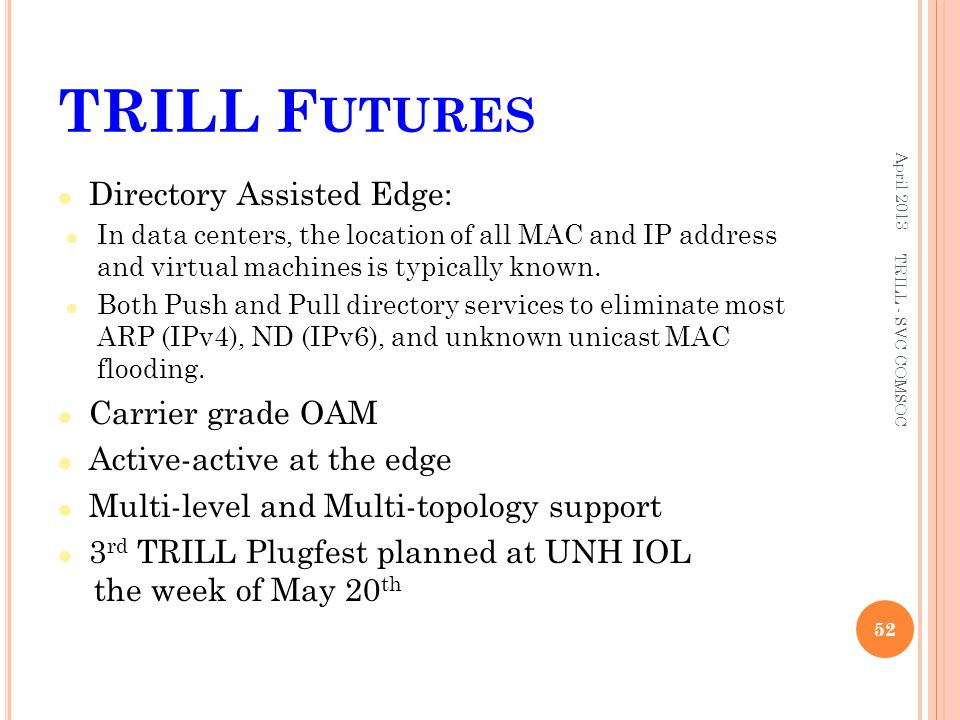 TRILL Futures Directory Assisted Edge: Carrier grade OAM
