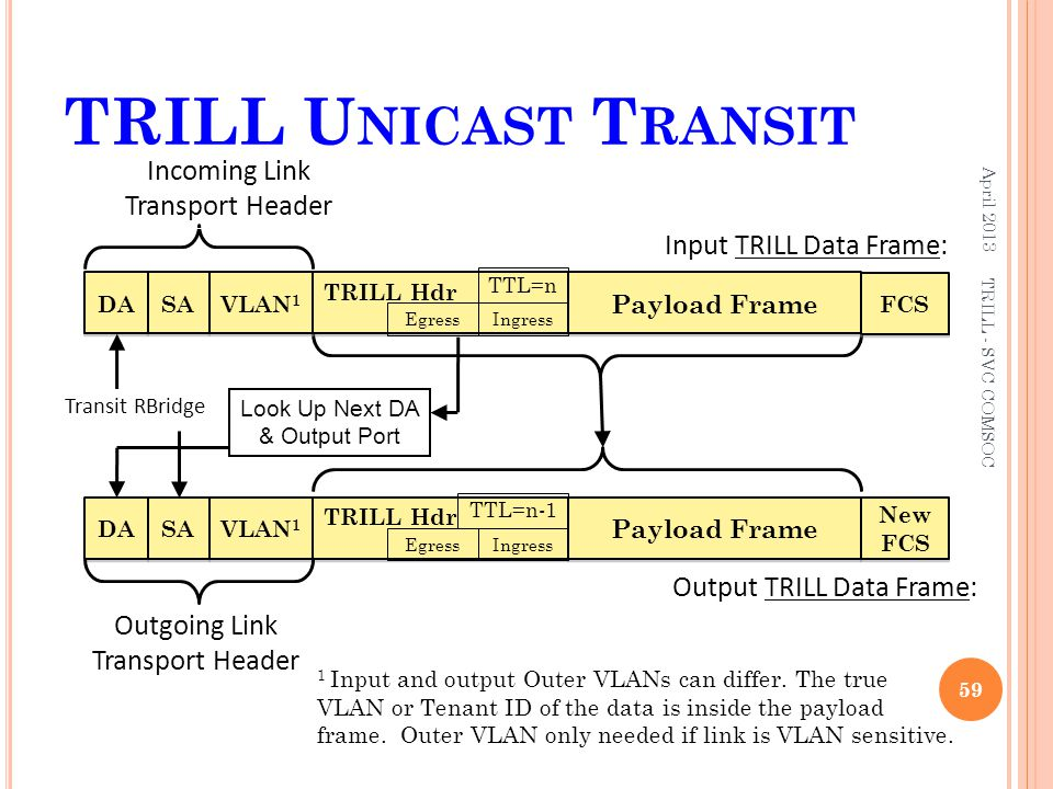 TRILL Unicast Transit Incoming Link Transport Header