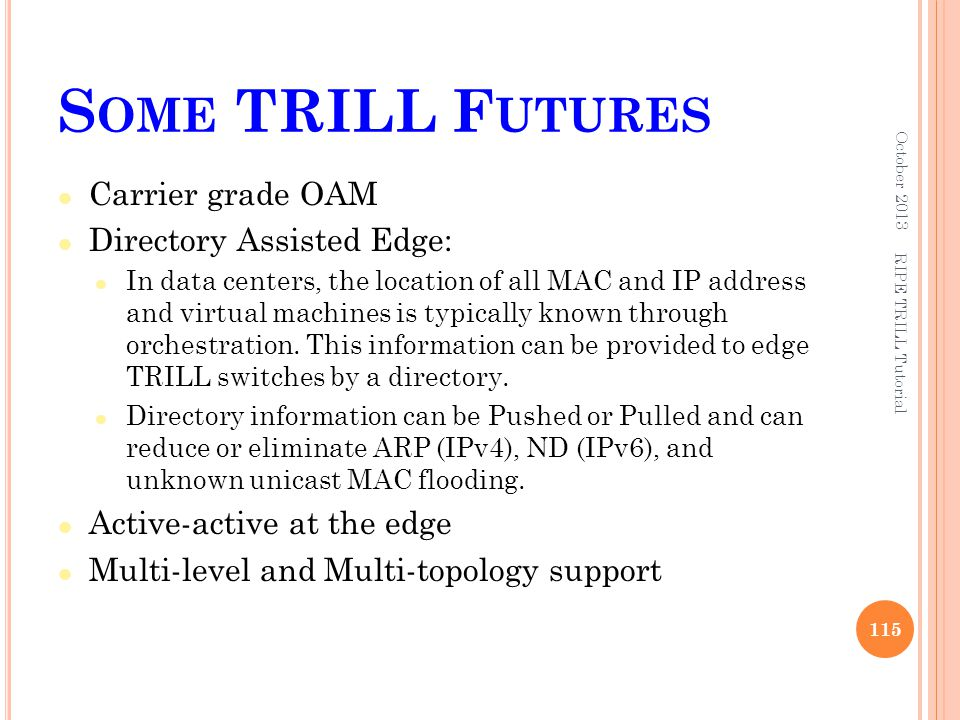 Some TRILL Futures Carrier grade OAM Directory Assisted Edge: