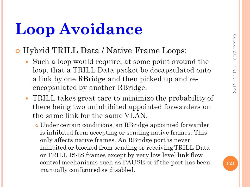 Loop Avoidance Hybrid TRILL Data / Native Frame Loops: