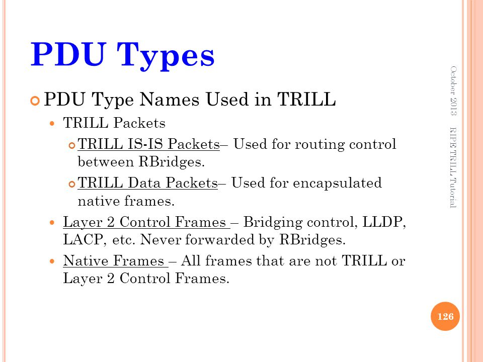 PDU Types PDU Type Names Used in TRILL TRILL Packets
