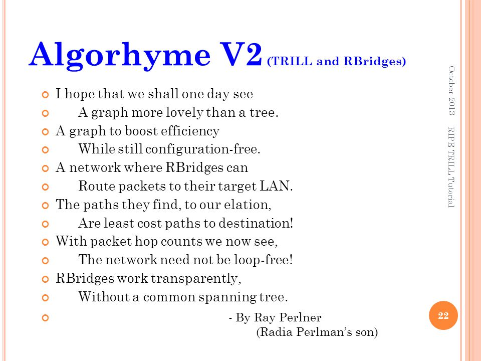 Algorhyme V2 (TRILL and RBridges)