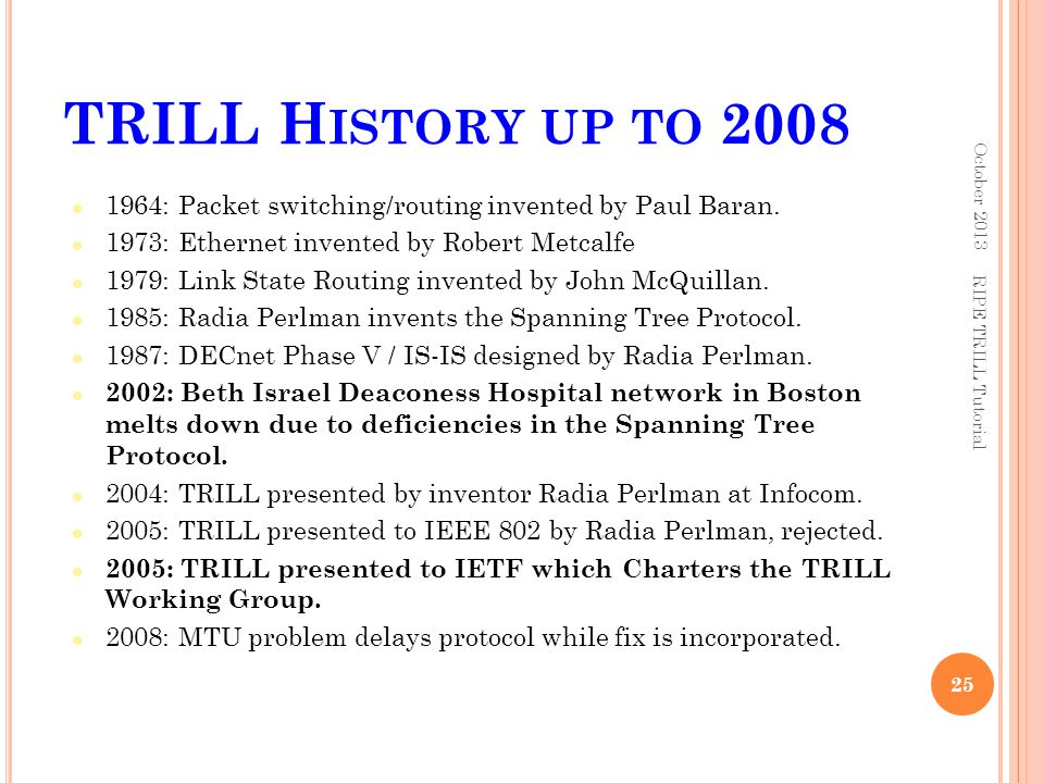 TRILL History up to 2008 October 2013. 1964: Packet switching/routing invented by Paul Baran. 1973: Ethernet invented by Robert Metcalfe.