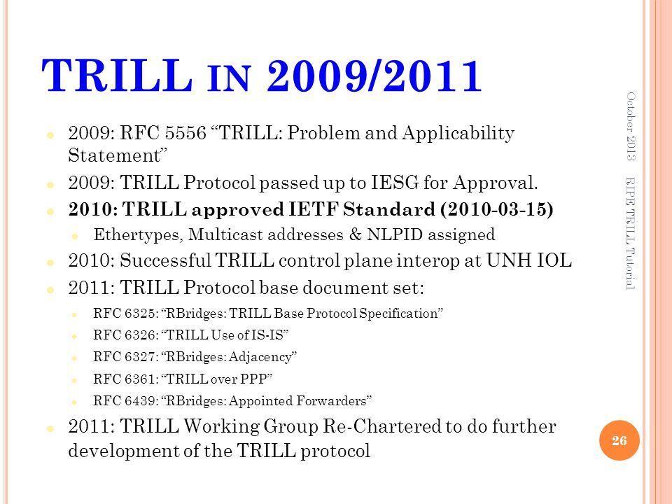 TRILL in 2009/2011 October 2013. 2009: RFC 5556 TRILL: Problem and Applicability Statement 2009: TRILL Protocol passed up to IESG for Approval.