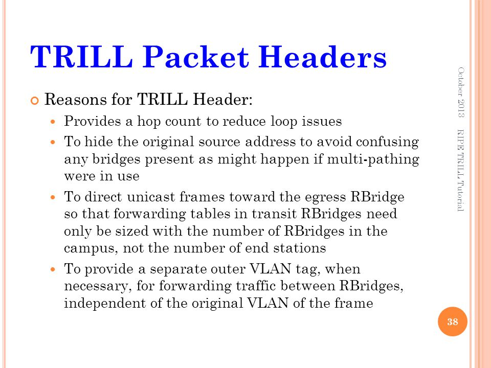 TRILL Packet Headers Reasons for TRILL Header: