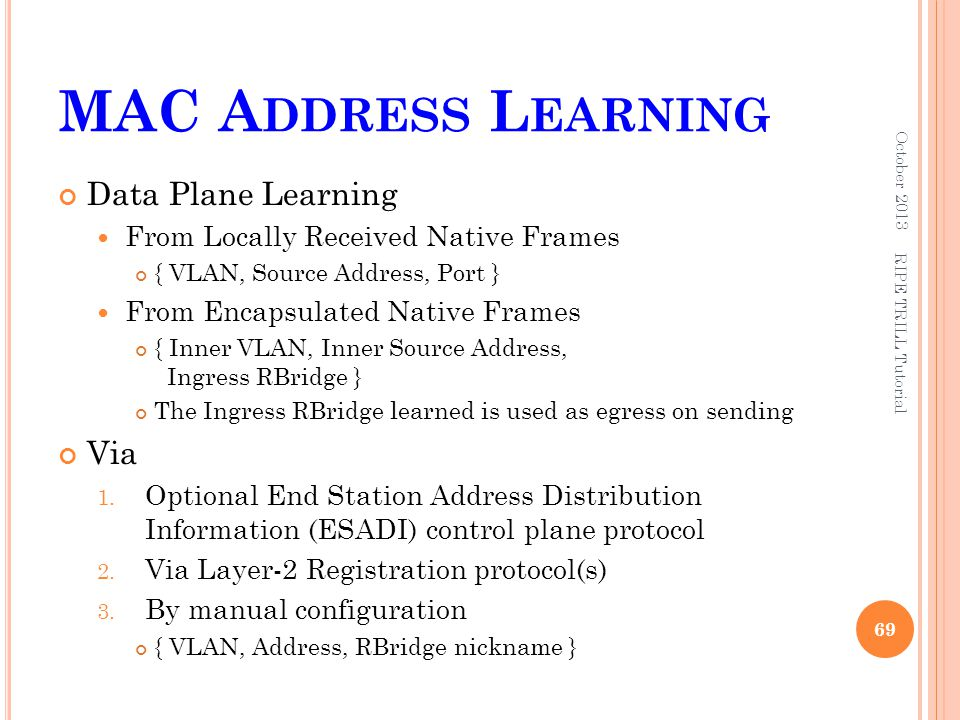 MAC Address Learning Data Plane Learning Via