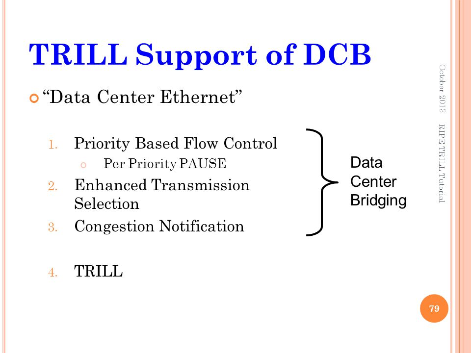 TRILL Support of DCB Data Center Ethernet