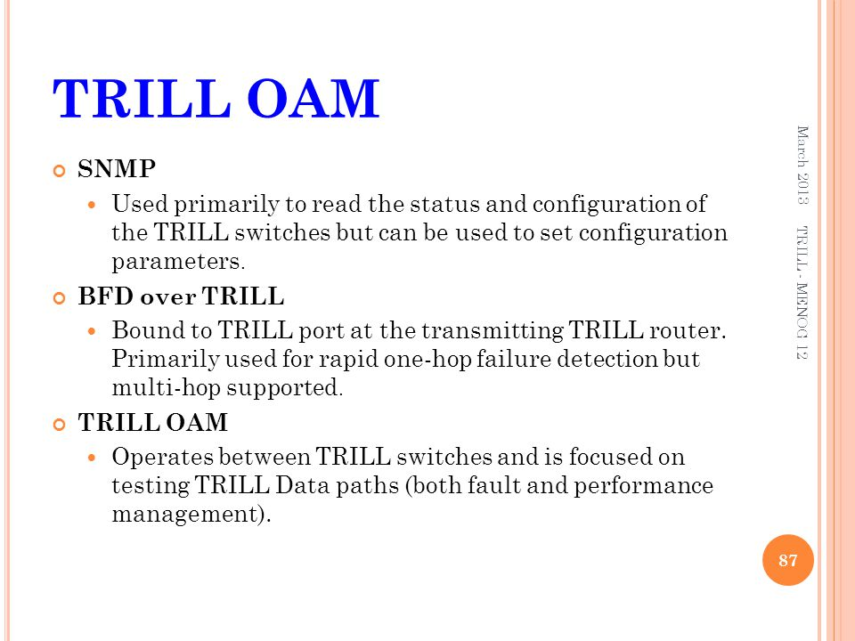 TRILL OAM March 2013. SNMP.