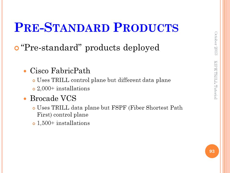 Pre-Standard Products
