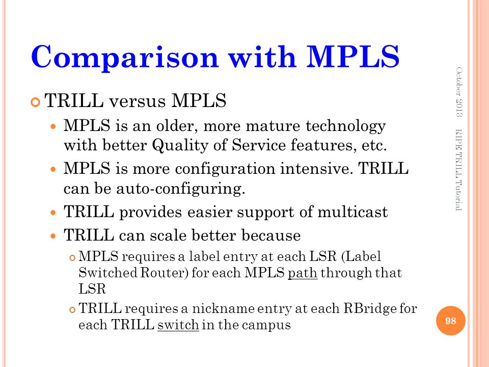 Comparison with MPLS TRILL versus MPLS